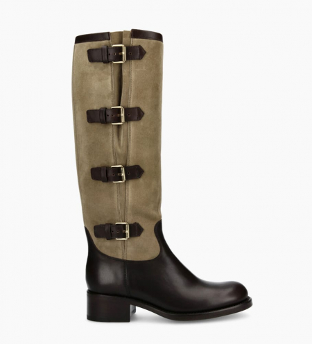 Rider 4 Multi Buckle Bottes - Cuir Lisse/Cuir Velours - Truffe/Taupe