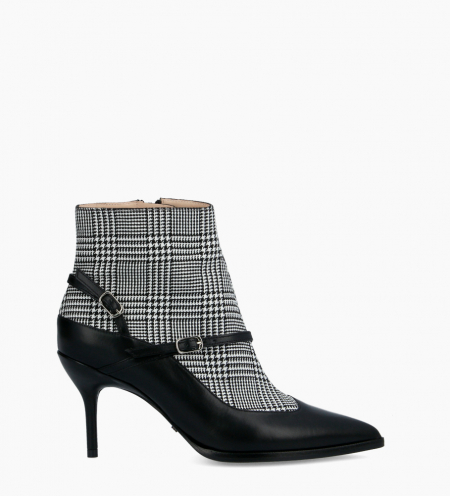 Boot with pointed toe and stiletto heel JAMIE 7 - Nappa leather/Fabric - Black/Prince of Wales check