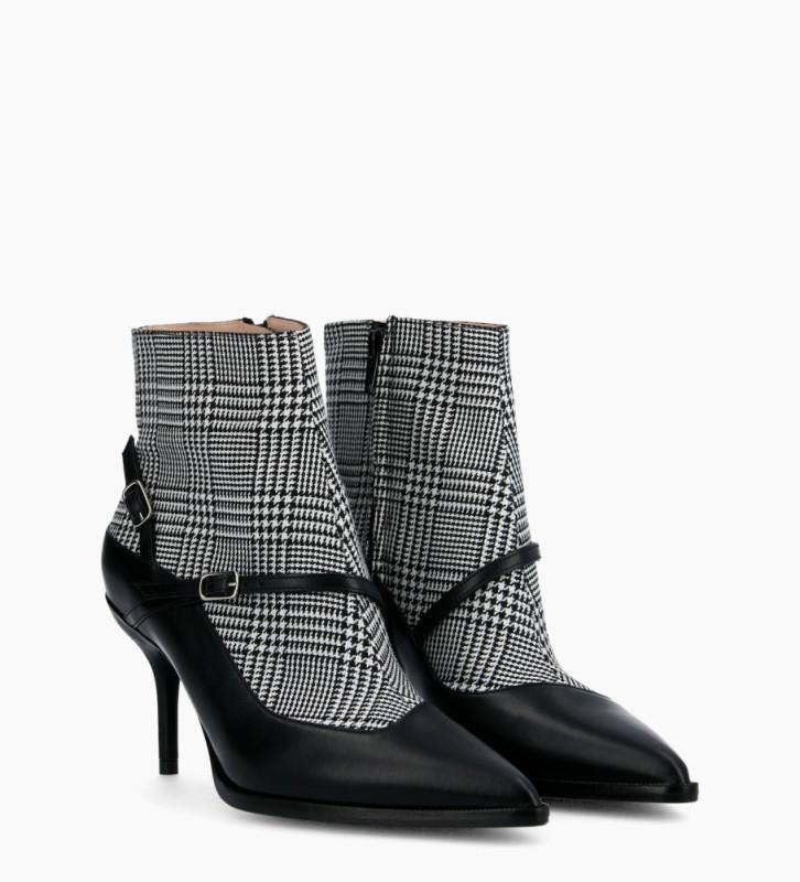 FREE LANCE Jamie 7 Asymétrique Buckle Boots - Cuir Nappa/Prince De Galles - Noir/Noir Blanc