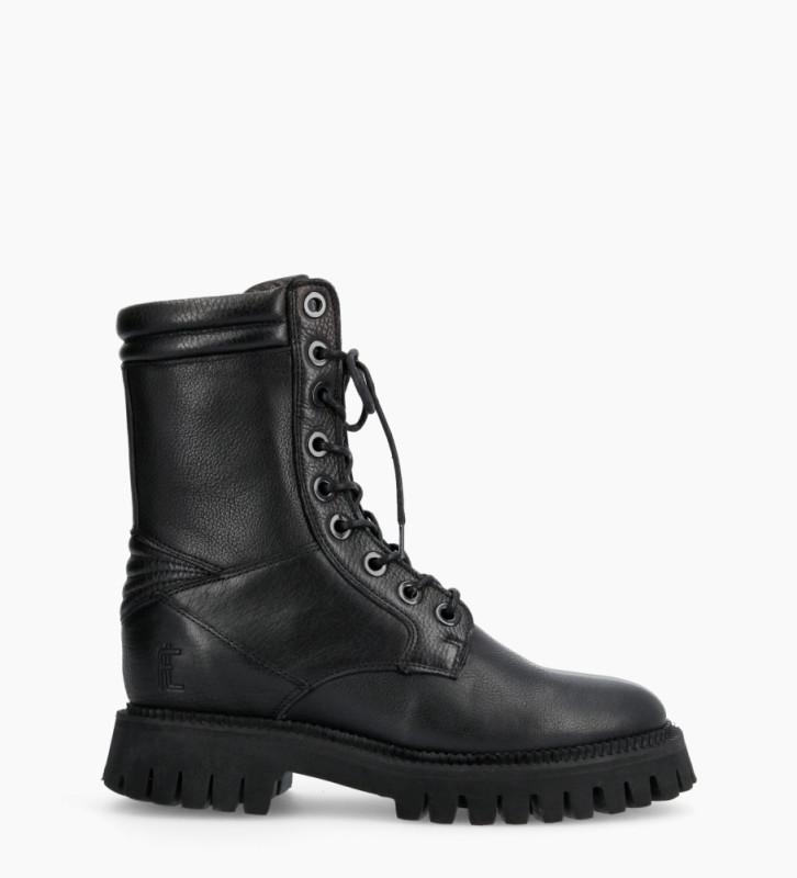 Lucy Combat Lace Up Boots - Cuir Grainé - Noir