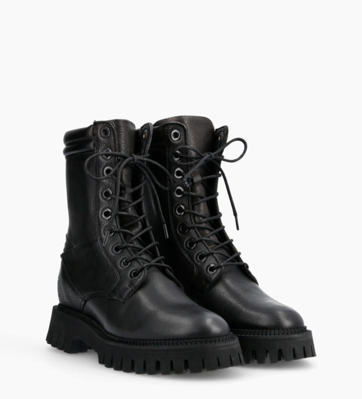 FREE LANCE Lucy Combat Lace Up Boots - Cuir Grainé - Noir