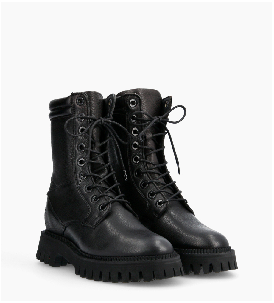 Lucy Combat Lace Up Boots - Cuir Grainé - Noir