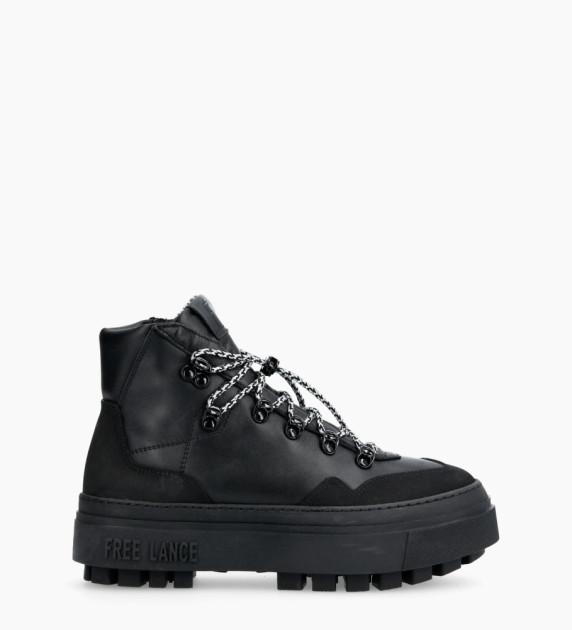 Nakano Trekking Sneakers - Cuir Lisse - Noir