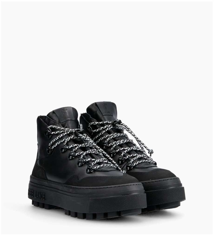 Eshop FREE LANCE Nakano Trekking Sneakers - Cuir Lisse - Noir
