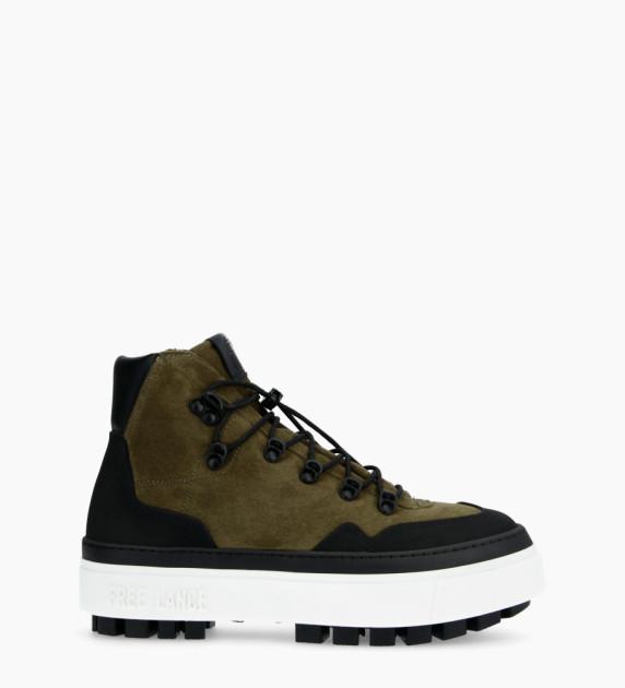 Nakano Trekking Sneakers - Cuir Lisse/Cuir Velours - Noir/Army