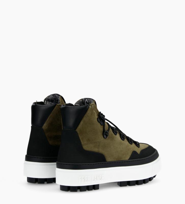 Eshop FREE LANCE Nakano Trekking Sneakers - Cuir Lisse/Cuir Velours - Noir/Army