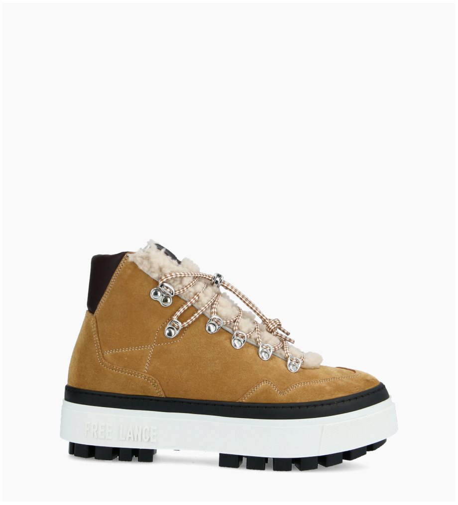 FREE LANCE Nakano Trekking Sneakers - Cuir Lisse/Cuir Velours/Mouton - Truffe/Miel/Naturel