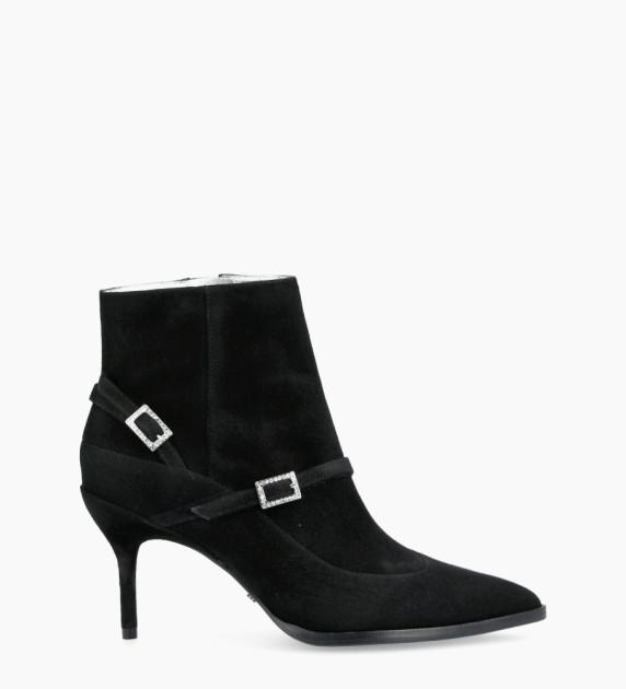Jamie 7 Asymétrique Strass Buckle Boots - Cuir Cachemire - Noir