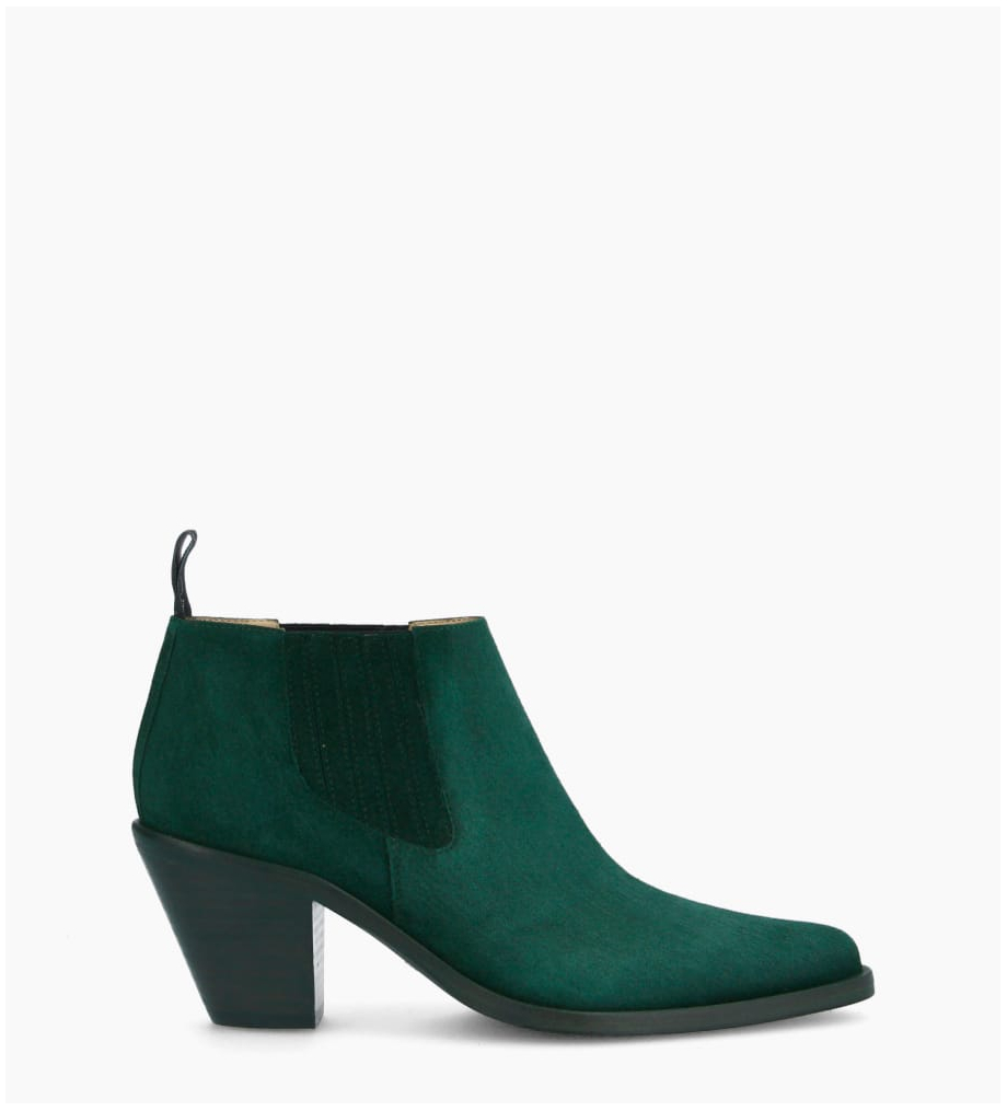 Chelsea boot with bevelled heel JANE 7 - Suede leather - Dark green