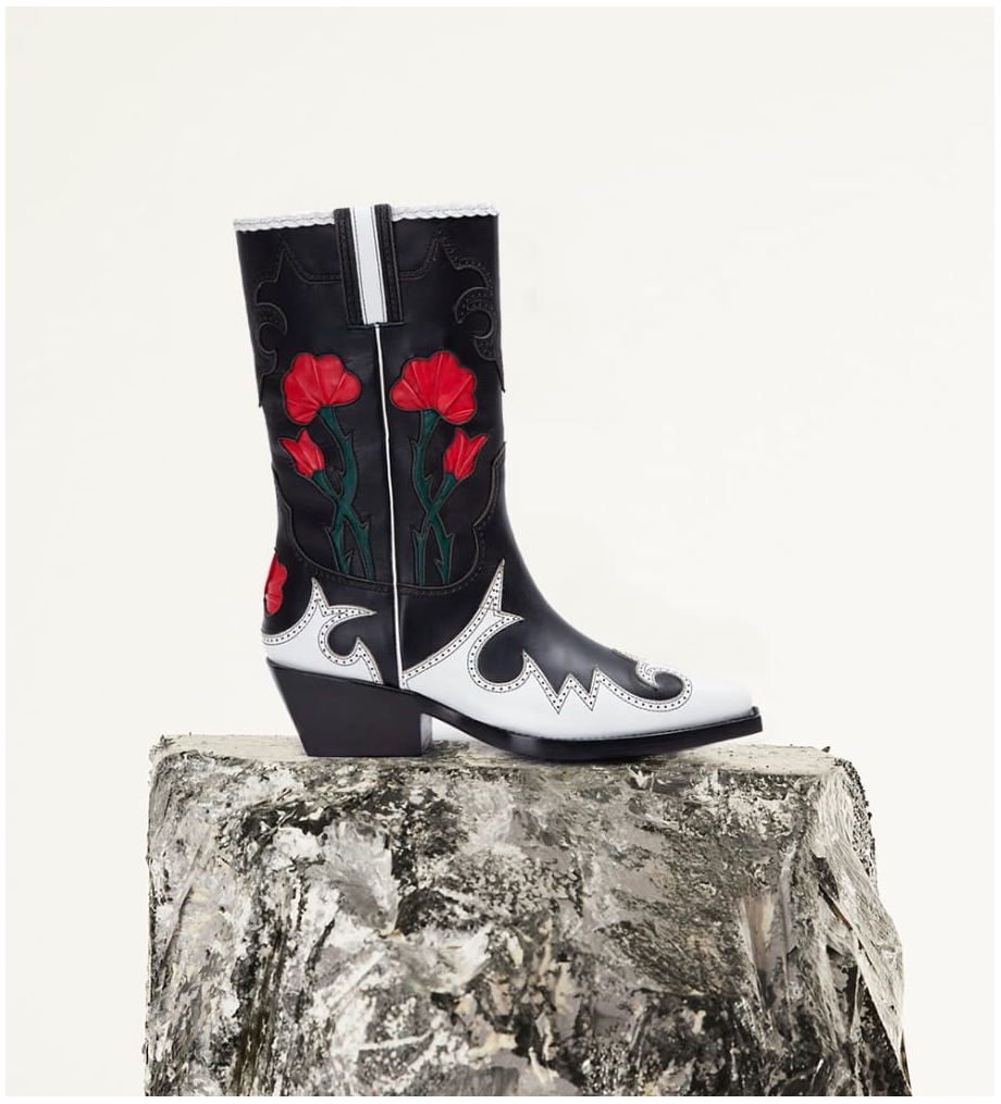 FREE LANCE Embroidered cowboy boot CALAMITY 4 - Matt smooth calf leather/Nappa leather - Black/White