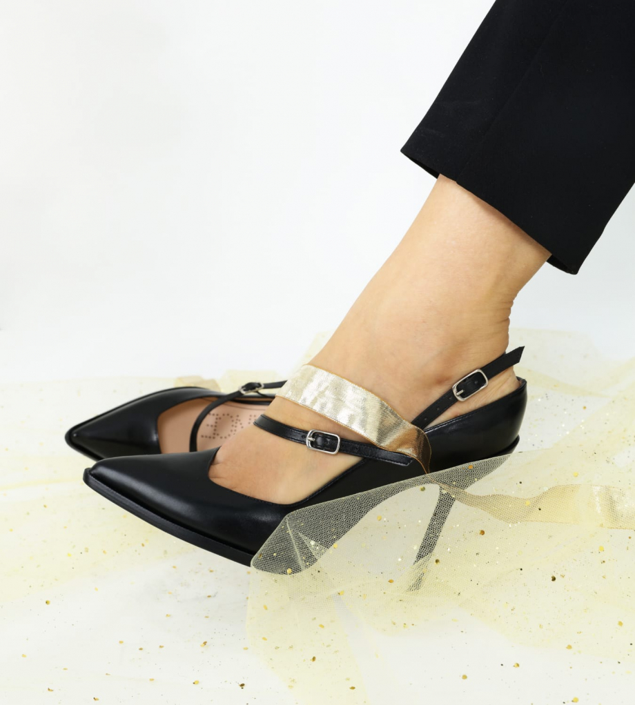 FREE LANCE Asymmetric pump with pointed toe and stiletto heel JAMIE 10 - Smooth calf leather - Black