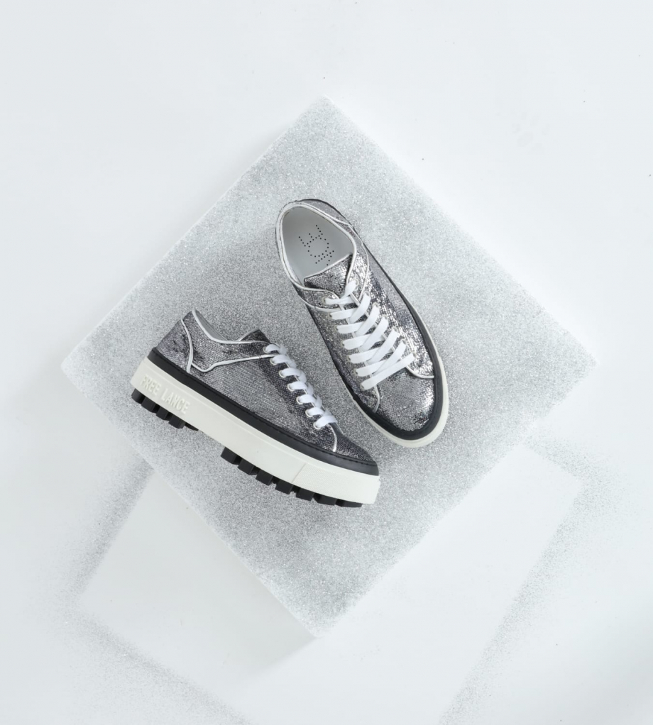 FREE LANCE Sneaker basse à sequins NAKANO - Cuir/Toile brodée - Argent