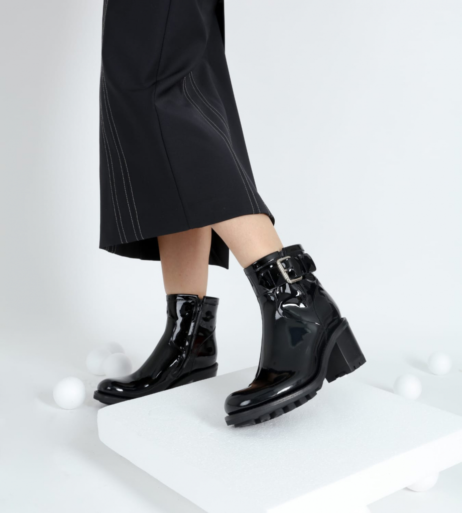 FREE LANCE Biker boot with buckle JUSTY 7 - Patent leather - Black
