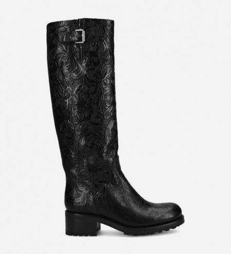 Biker high boot with buckle BIKER 4 - Embossed leather with floral motif - Black