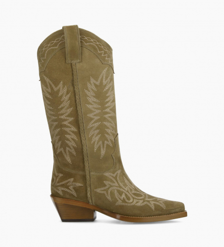 Embroidered Santiag boot CALAMITY 4 - Suede - Taupe
