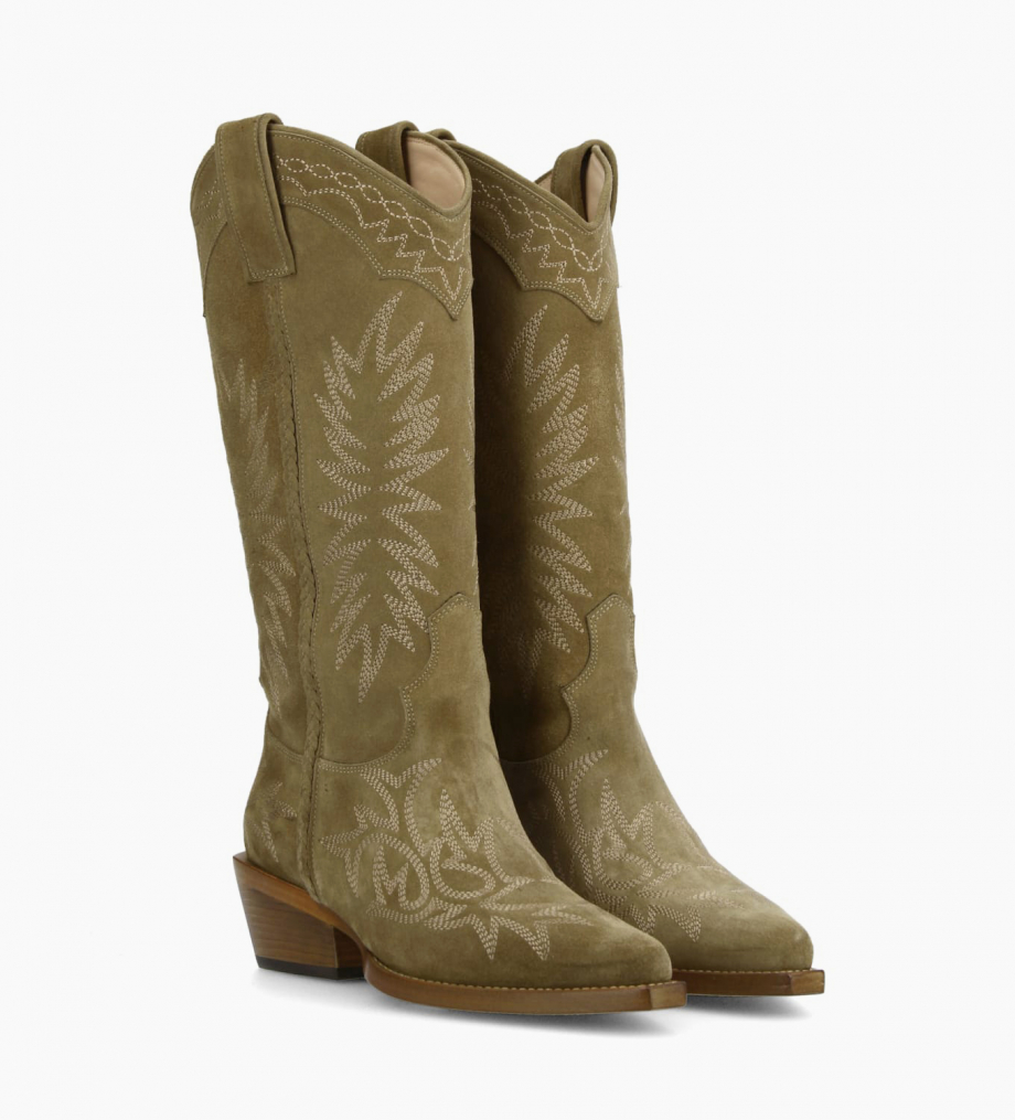 Eshop FREE LANCE Embroidered Santiag boot CALAMITY 4 - Suede - Taupe