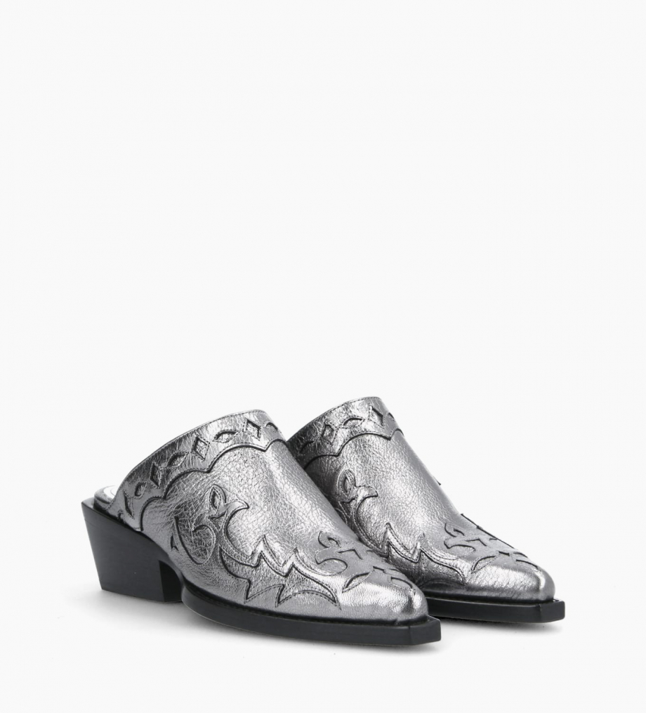 FREE LANCE Western clog CALAMITY 4 - Grained vegetable tanned leather - Silver