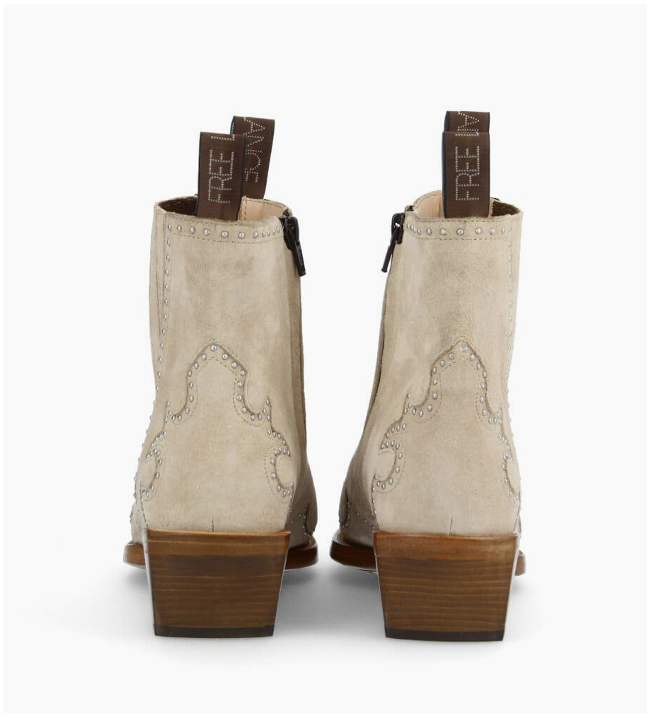 Eshop FREE LANCE Chelsea western studded boot CALAMITY 4 - Suede - Linen