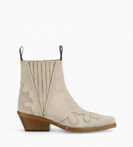 Chelsea western studded boot CALAMITY 4 - Suede - Linen