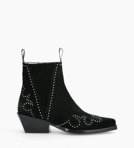 Chelsea western studded boot CALAMITY 4 - Suede - Black