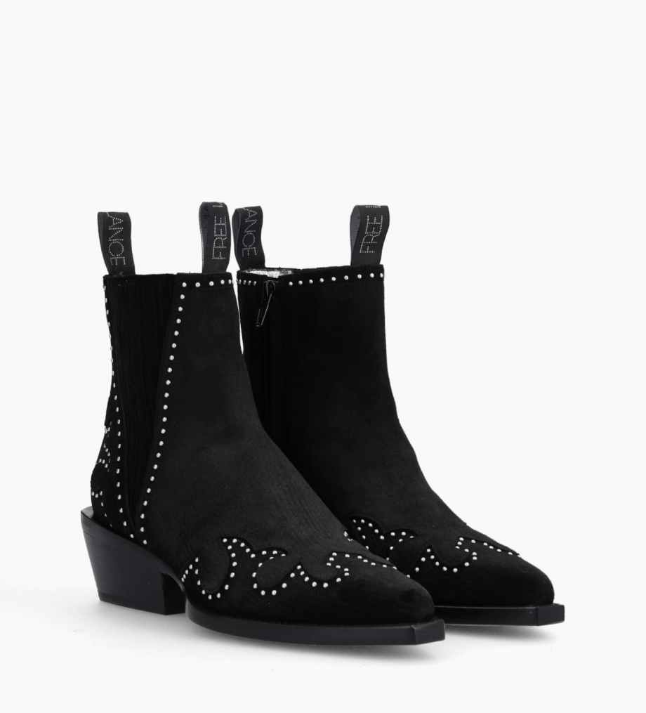 FREE LANCE Chelsea western studded boot CALAMITY 4 - Suede - Black