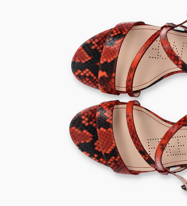 FREE LANCE Sandale à talon DITA 45 - Cuir imprimé serpent - Orange