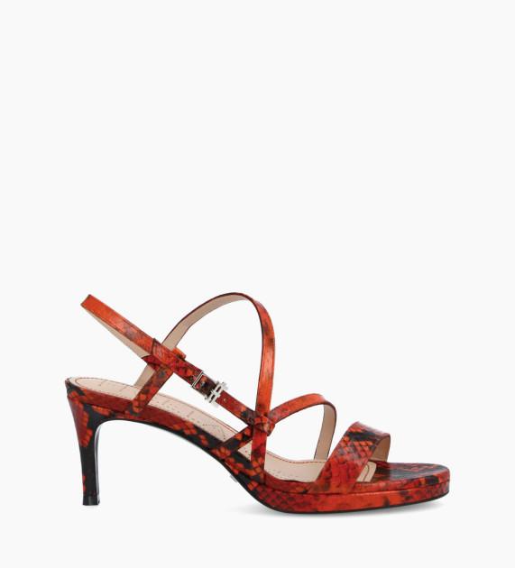 Heeled sandal DITA 45 - Snake Print - Orange