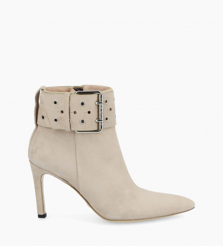 Buckle heeled boot FOREL 7 - Suede - Linen