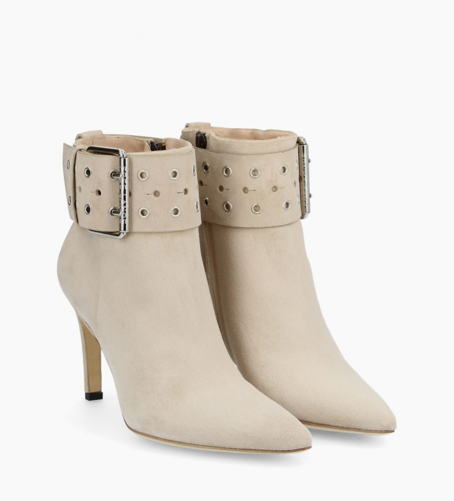 Eshop FREE LANCE Buckle heeled boot FOREL 7 - Suede - Linen