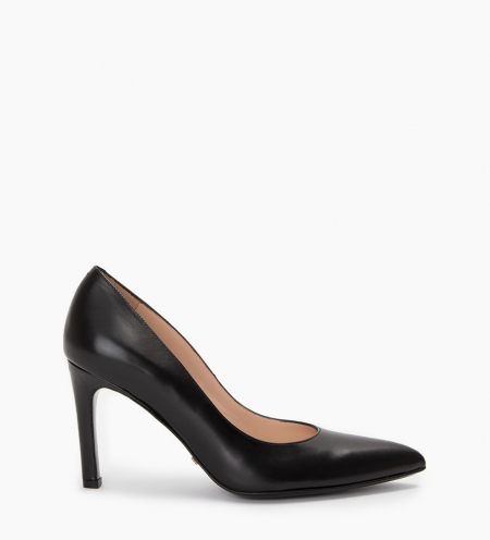 Pump with pointed toe and stiletto heel Forel 7 - Smooth calf leather - Black