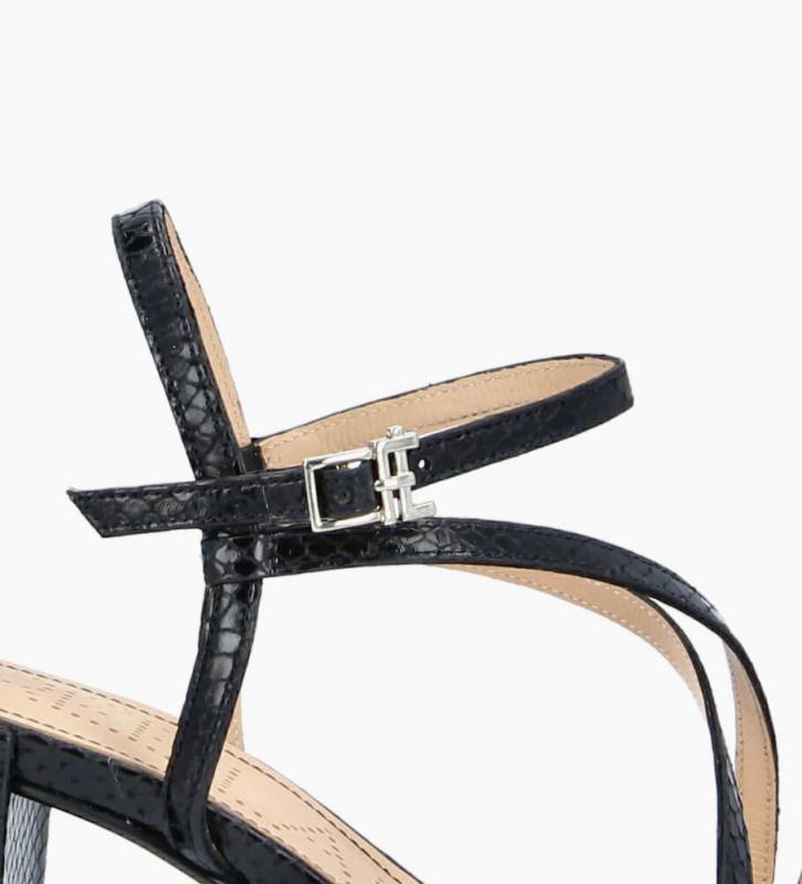 FREE LANCE Sandale à talon GRACE 5 - Cuir imprimé serpent - Noir