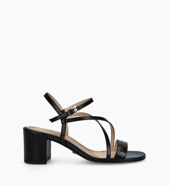 Heeled sandal GRACE 5 - Snake Print - Black