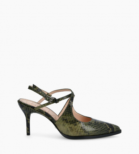 Pump with crossed straps pointed toe and stiletto heel JAMIE 7 - Snake Print - Khaki