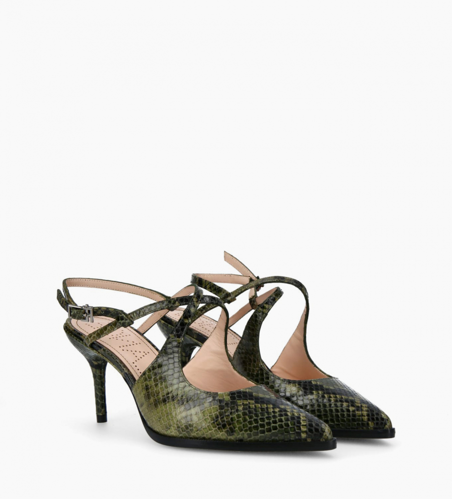 FREE LANCE Pump with crossed straps pointed toe and stiletto heel JAMIE 7 - Snake Print - Khaki
