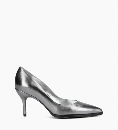 Pump with pointed toe and stiletto heel JAMIE 7 - Metallic leather - Silver