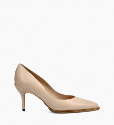 Pump with pointed toe and stiletto heel JAMIE 7 - Nappa leather - Beige