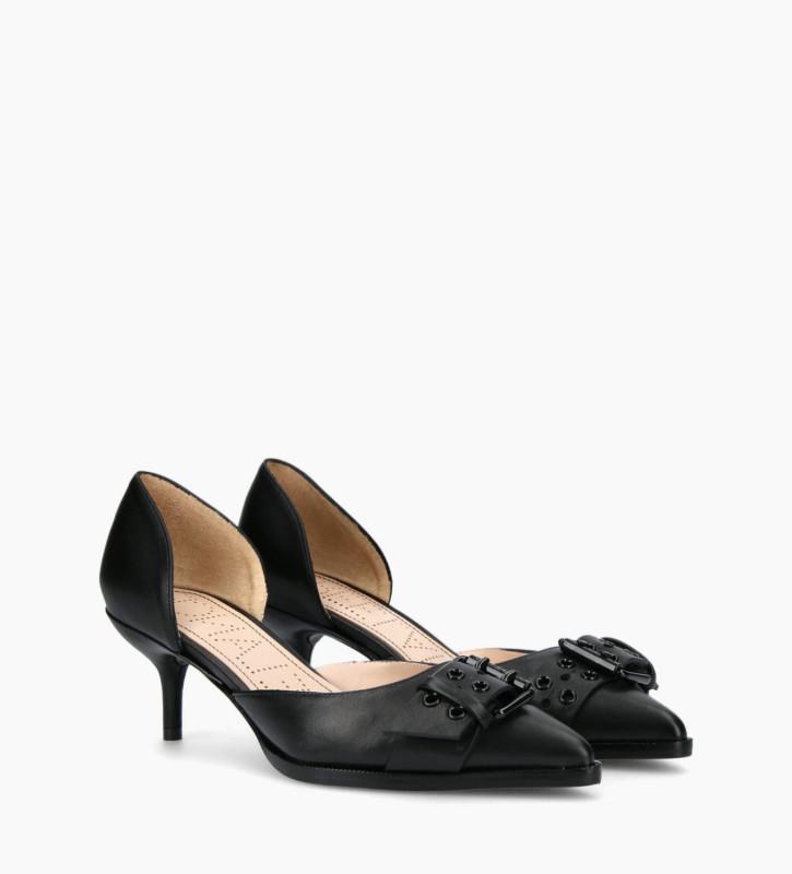 FREE LANCE Escarpin d'Orsay avec boucle JAMIE 45 - Cuir nappa - Noir