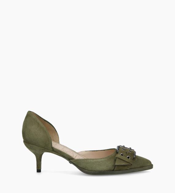 Escarpin d'Orsay avec boucle JAMIE 45 - Cuir velours - Vert
