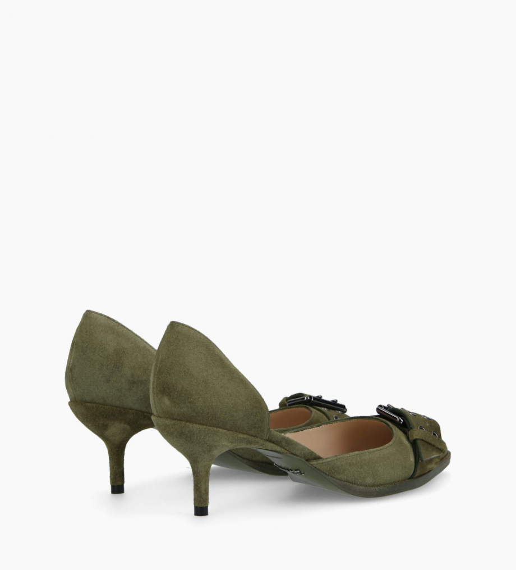 FREE LANCE Escarpin d'Orsay avec boucle JAMIE 45 - Cuir velours - Vert